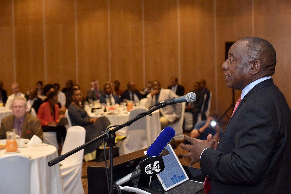 President @DPRamaphosa addresses the Team South Africa pre-World Economic Forum breakfast meeting in Rosebank, Johannesburg #WEF