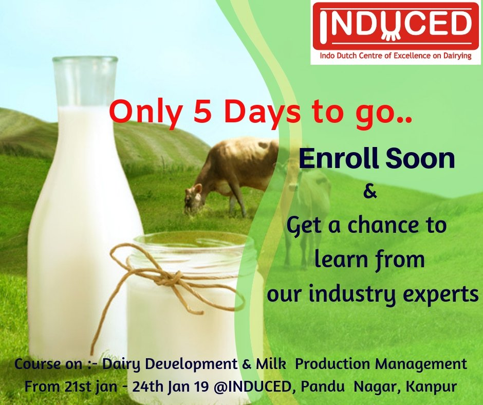 Get a chance to learn from the industry expert. Only 5 days to go... Contact Mr. Mukesh Sharma @08874204815  #Course #Dairydevelopment #Milkproduction #Milk #Induced #Training #Farmers #Farmerwelfair #Wednesdaywisdom