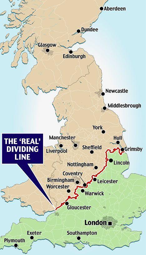#Britain: the dividing line between the north of #England, #Wales & #Scotland vs. the south of England... #maps #UnitedKingdom  https://bigthink.com/strange-maps/193-the-border-between-the-two-englands…