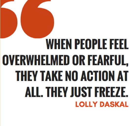 """When people feel overwhelmed or fearful, they take no action at all. They just freeze. ~""""The Leadership Gap"""" via @LollyDaskal https://t.co/pVKqaI7YVf #TheLeadershipGap#Book #Leadership #Management #HR"""