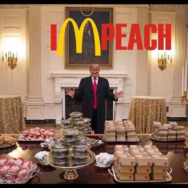 #McDonalds  #ImpeachTrump #POTUS paid his porn star how many thousands of dollars and gives our college national football champs fast food from the dollar menu <br>http://pic.twitter.com/gnyB4acu7G