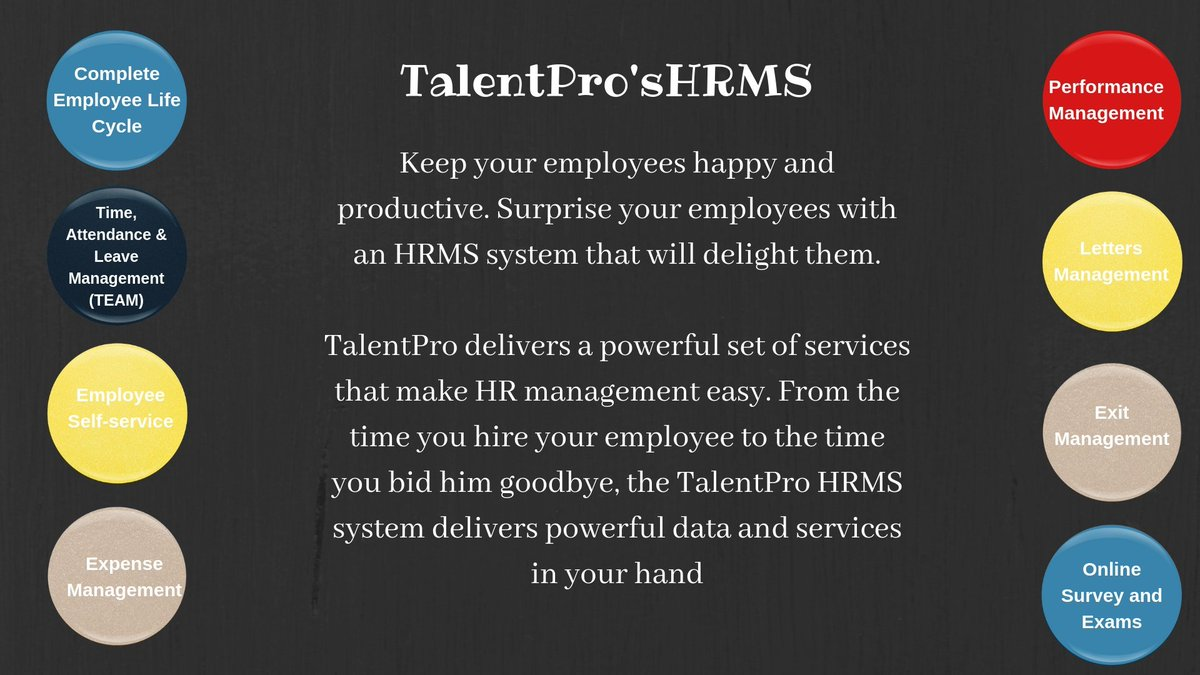 Experience TalentPro's Customisable HRMS for your Business. #Time #Leaveandattendance #Employeeselfsevice #Travelmanagement #Fullandfinal #PMS Visit us to explore more https://bit.ly/2RoNvhb #humanresources #hr