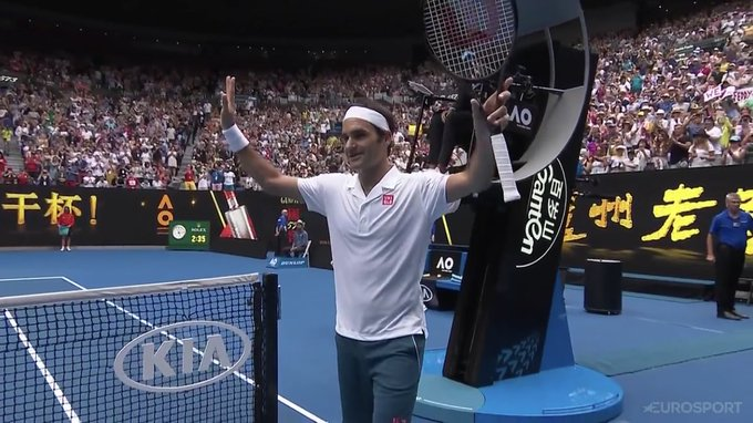 Roger Federer beats Dan Evans 7-6(5), 7-6(3), 6-3 to reach the 3rd round at the #AusOpen Photo