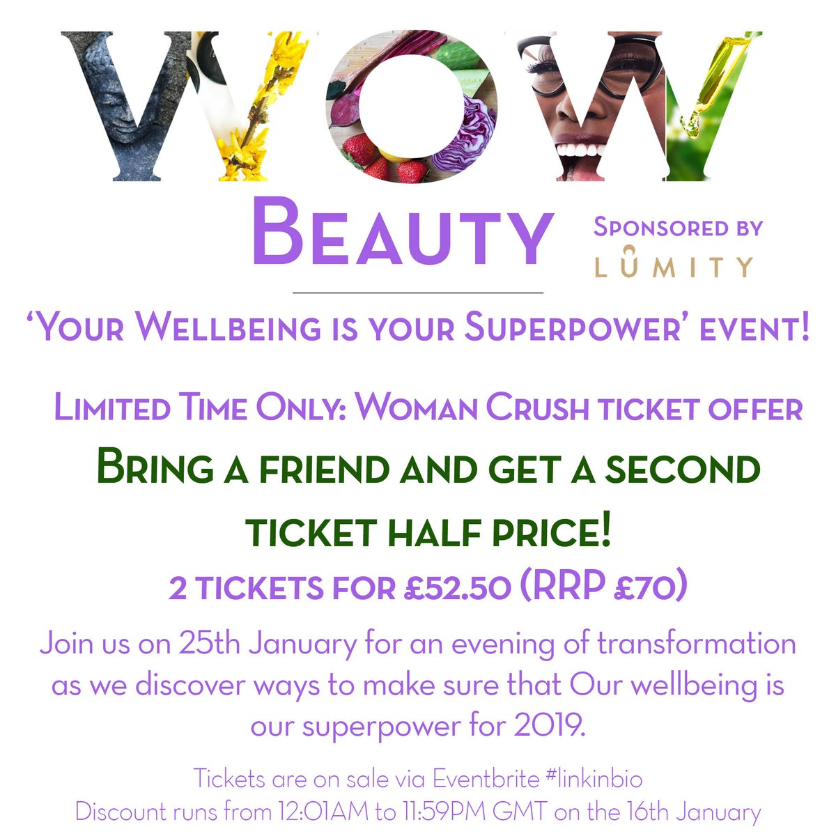 We&#39;re celebrating #womancrushwednesday AND #wellbeingwednesday AND #wellnesswednesday with this #bringafriend offer. if you're serious about your wellbeing and you want to thrive in 2019 #tagafriend &amp; Grab a ticket to join us!  http:// ow.ly/VMjR30nkDYT  &nbsp;    @FemaleBloggerRT<br>http://pic.twitter.com/n0bVTbYGhy