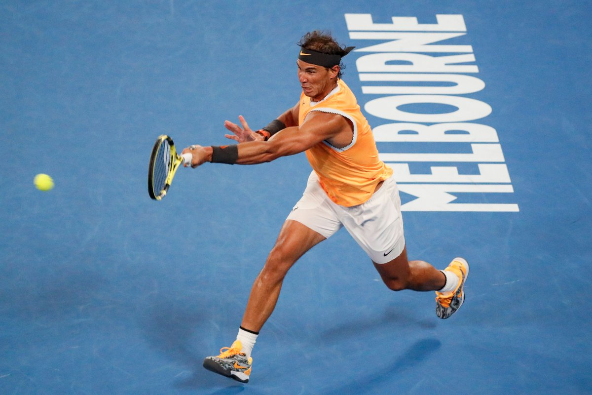 And still... never lost a 2R at the #AusOpen 💯  @RafaelNadal eases into the 3R, def. Matt Ebden 6-3 6-2 6-2.