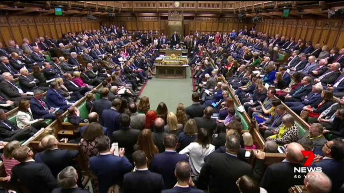 Britain is tonight in turmoil  after a historic and humiliating defeat for Prime Minister Theresa May. Her Brexit deal voted down by an enormous margin in Parliament - 432 to 202. @hughwhitfeld #7News