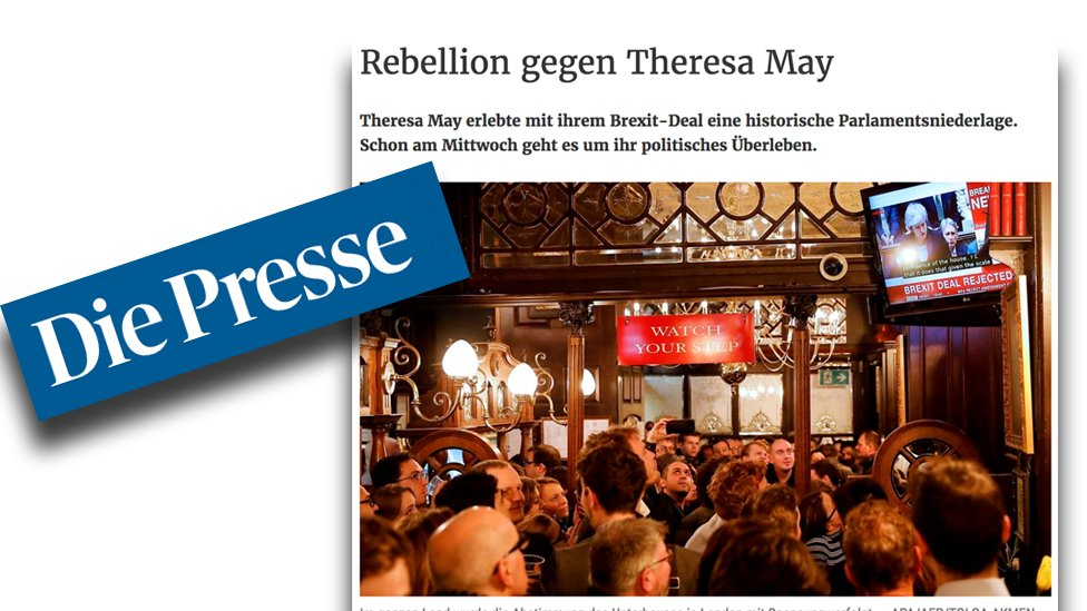 """Austria's Die Presse says Theresa May was 'not only unperturbed but also well prepared' and 'no-one could blame her for not having fought to the last second""""."""
