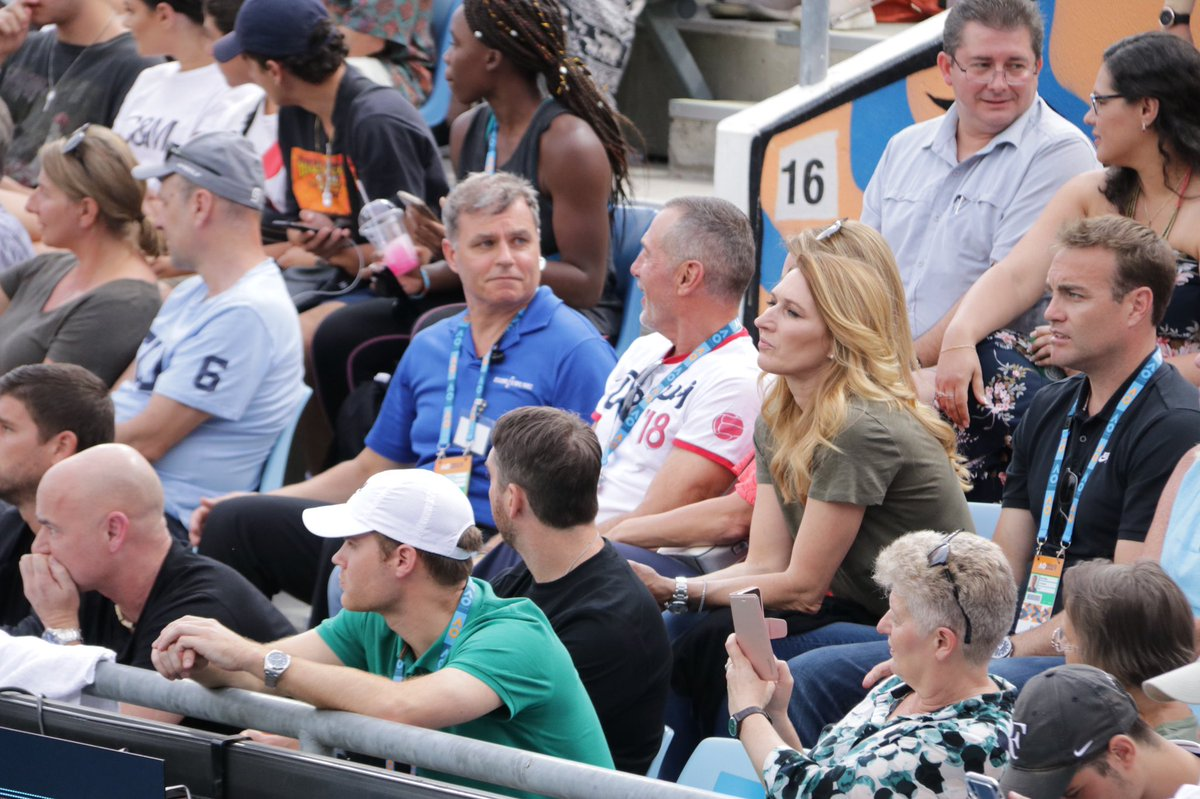 Tennis royalty right here on Court 3! @AndreAgassi &amp; Stefi Graf! #AusOpen <br>http://pic.twitter.com/ARMYigXpsm