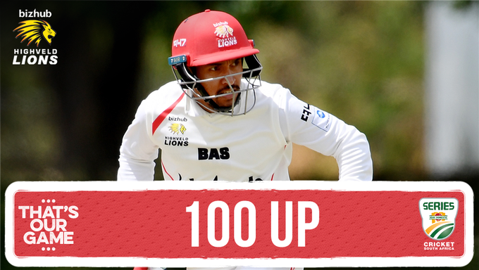 100 up! @dom_hendricks (109*) has scored his 11th first-class century. The score is currently 350/4 after 105 overs played. The Lions now lead by 121 runs with 6 wickets remaining. #TTNvLIO #4DaySeries Photo