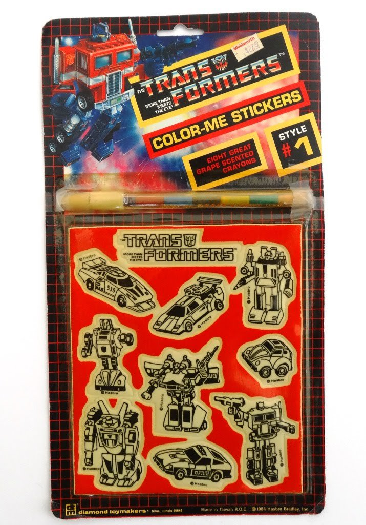 Color-Me Stickers with eight grape scented crayons, diamond toymakers, 1984, Hasbro Bradley Inc #transformers #g1transformers #g1