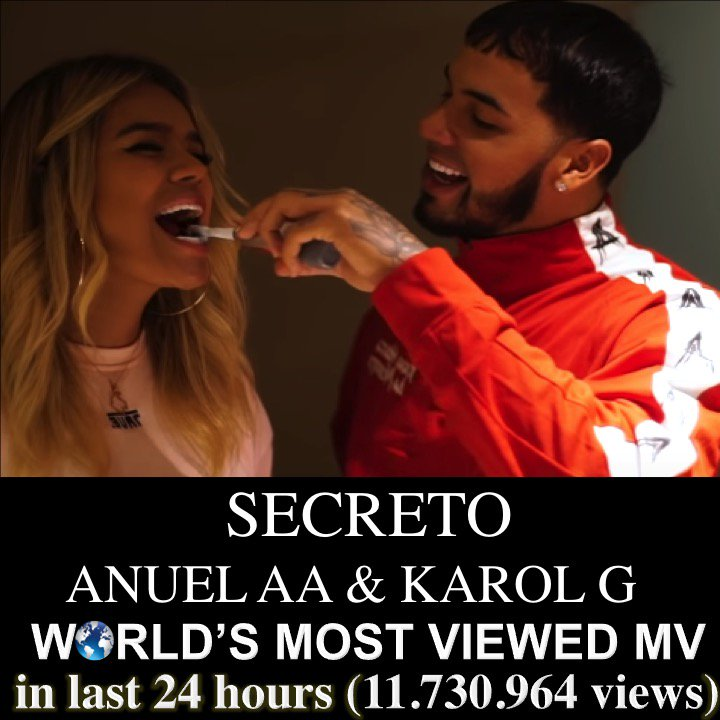 Latin Superstars #AnuelAA and #KarolG are madly in love in their new music video #Secreto which has gone straight to #1 on the You Tube chart with nearly 12 million views in the last 24 hours!👏1⃣🎞️💑🔥😍 @Anuel_2bleA @KarolGmusic https://t.co/Z9JIYZzmfq