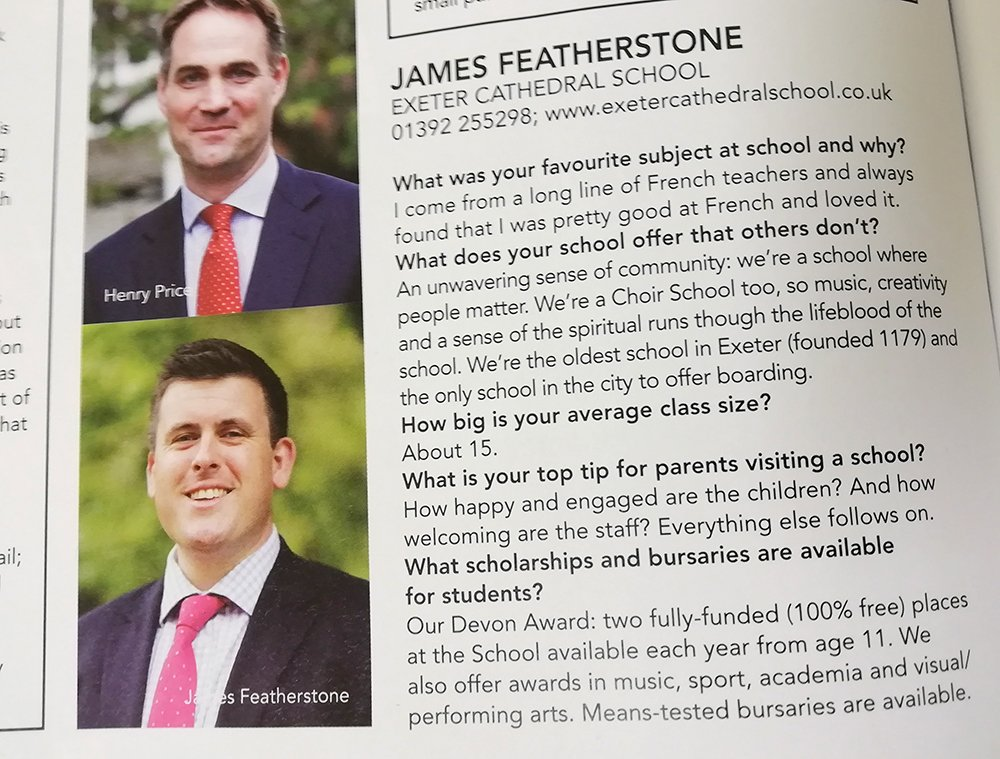 """""""An unwavering sense of community"""" - that's ECS in a nutshell! Mr Featherstone writes for this month's Exeter Living magazine @ExeterLiving #MeetTheHeadteacher https://t.co/P7BwTTZgER"""