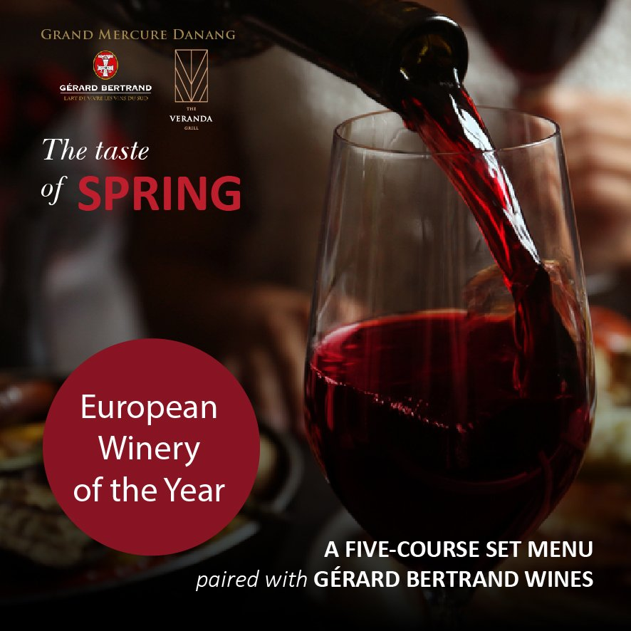 🍷 Exclusive wine pairing set-menu at Grand Mercure Danang 🔜 18:30 - 22.01.2019 🥂 Embark on a gastronomic journey once again at The Veranda Grill, with a delicious 5-course menu, perfectly paired with premium Gerard Bertrand wines from France.  Book Now: https://t.co/GJUyg1gt8t https://t.co/2cxmUR5ji1