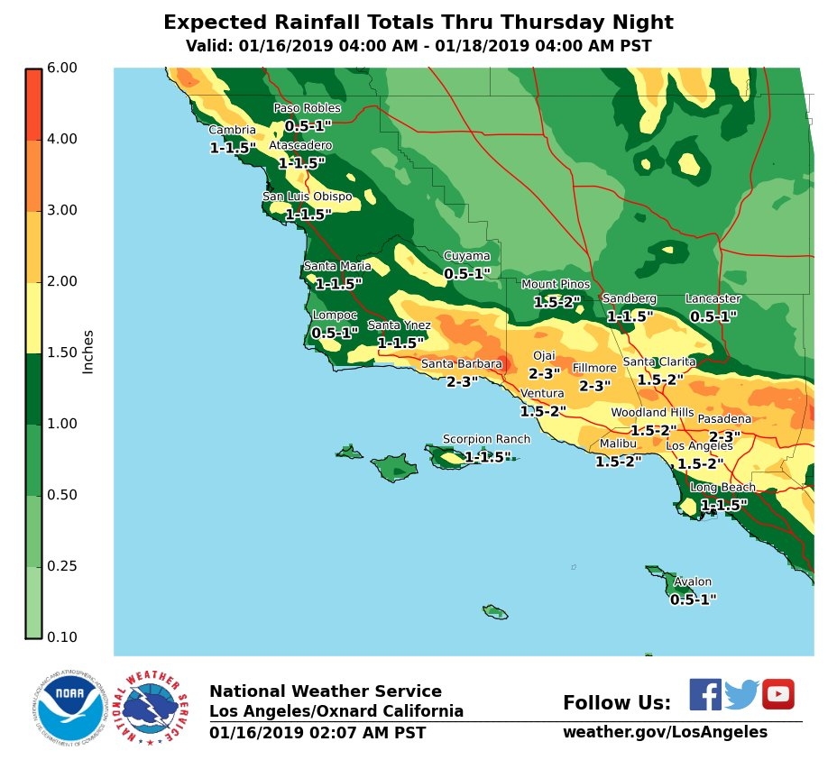 Nws Los Angeles On Twitter Rainfall Will Increase By Midday Today