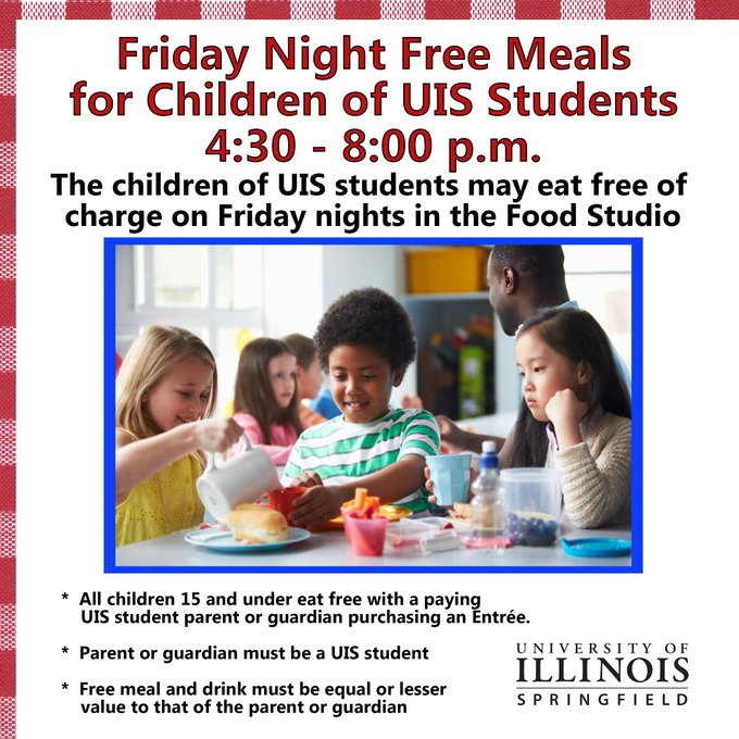RT @UISVCSA: Friday Nights free meals for children of UIS students. @UISedu https://t.co/icxjKCJkMz
