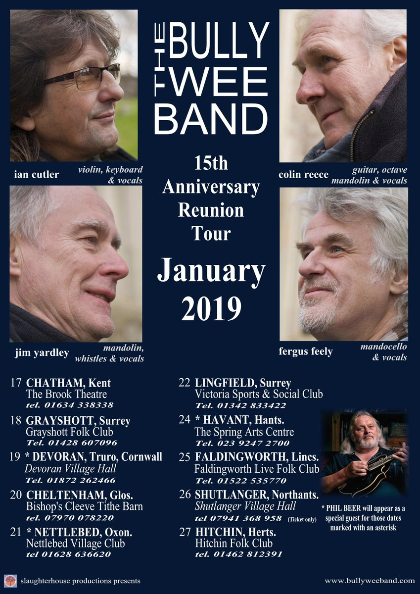 @BBCSussex  @GrayshottFolk presents: THE BULLY WEE BAND + Chris Fox https://www.youtube.com/watch?v=Gs0MWJhOdTU… Friday 18th January 2019 @ 7.30pm At; Grayshott Village Hall, Headley Road, Grayshott, Nr. HINDHEAD, Surrey GU26 6TZ Call 01428 607096 for tickets
