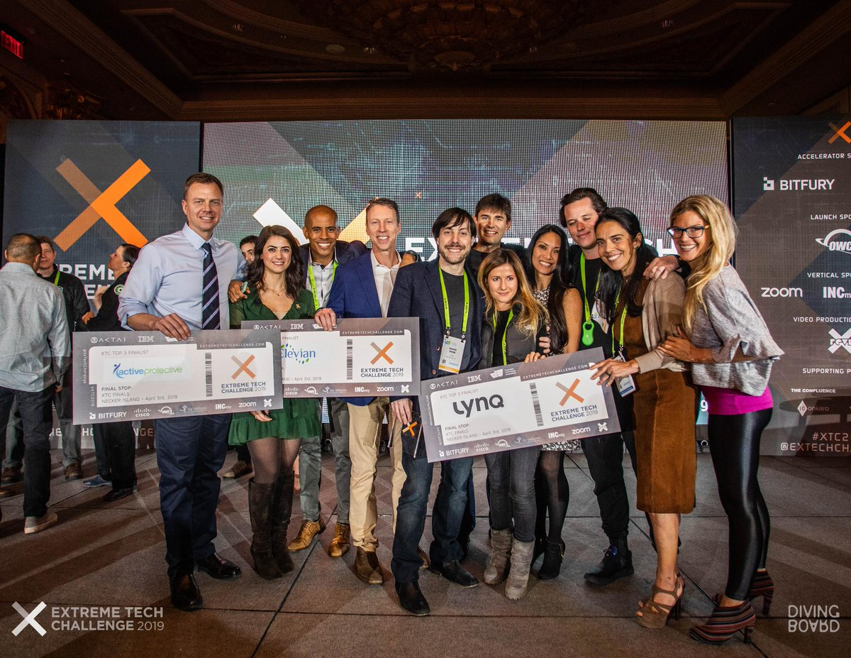 Congratulations to the top 3 finalists in the @ExTechChallenge that were named at #CES2019 - @ActivProtectiv @ElevianInc & . Go@lynq_meod luck pitching to  on @richardbransonNecker Island in April!