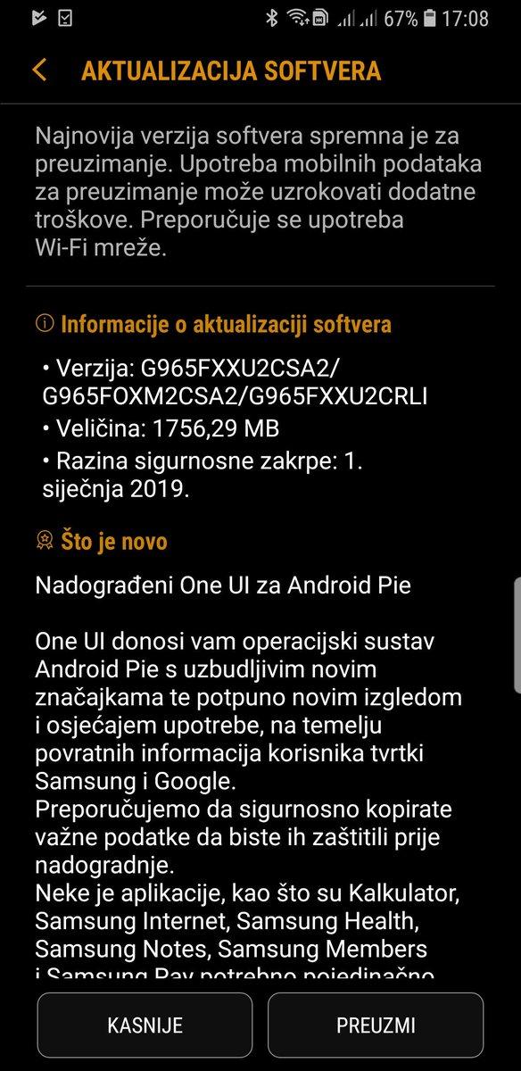 Android Pie za #galaxys9plus sa novim One UI sučeljem u službenoj verziji, konačno dostupan u #Hrvatska  @mob_hr @ICTracunalo @Smartphonehrv