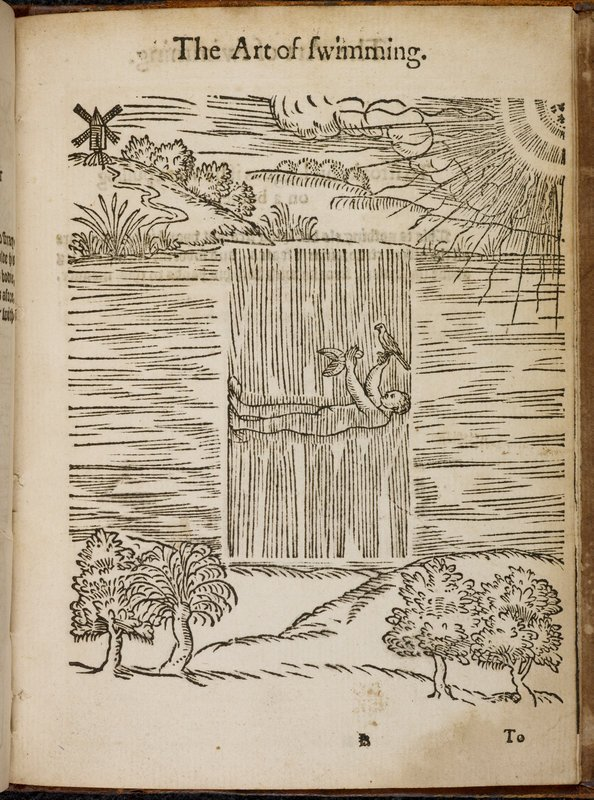 The #NewYearsResolution at the top of everyone's list: learn to swim the 16th-century woodcut way. Now just to find two birds to perfect that technique…  (From 'The Art of Swimming' which is considered the first English treatise on swimming)