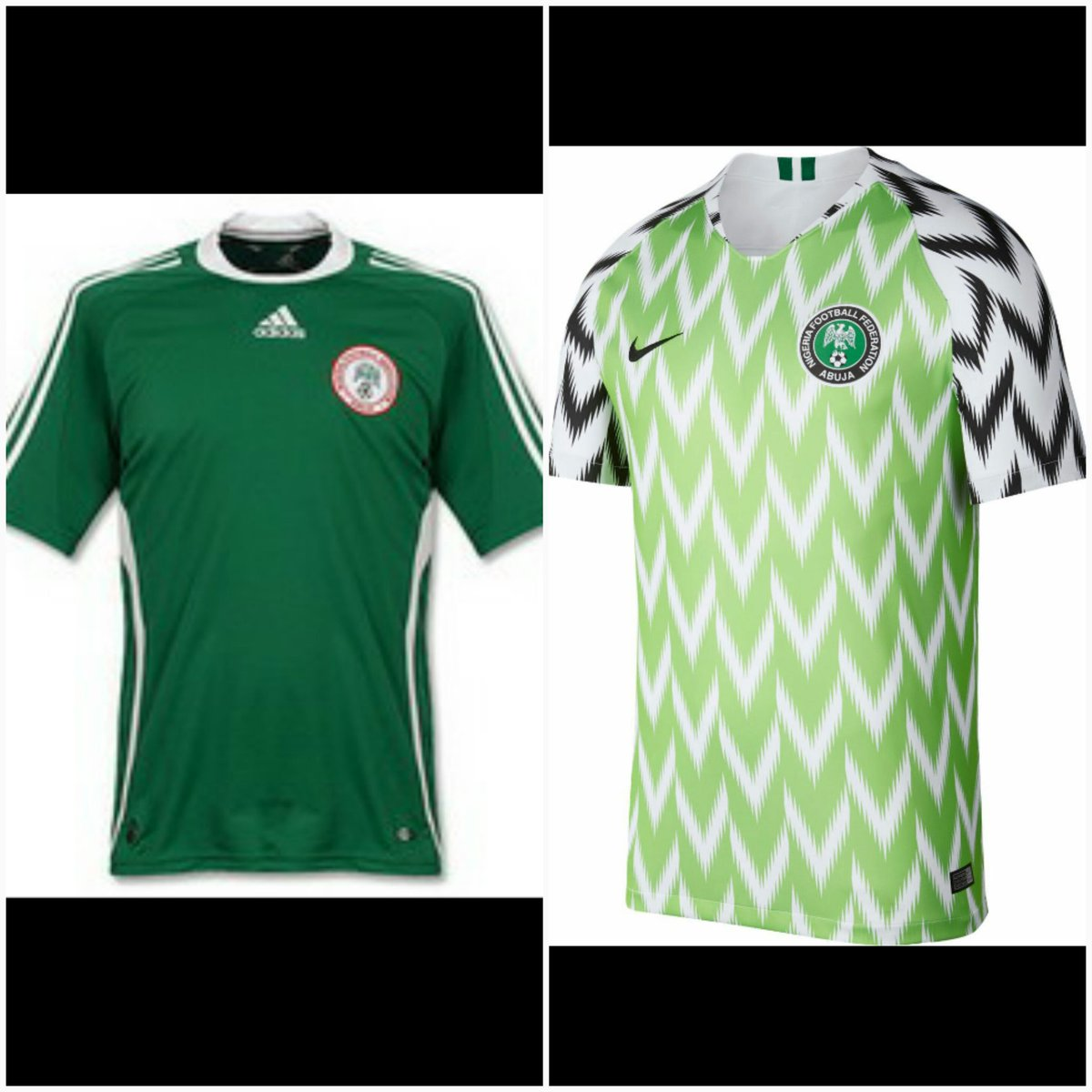 The Nigerian Football jersey too wasn't spared in the #10yearschallenge New patterns,new designs.. Patronize us for your Original pocket friendly Jerseys for both clubs and Country #jersey #sports #giftshop #jerseystores  #premiereleague #giftideas #gifts #10yearschallenge