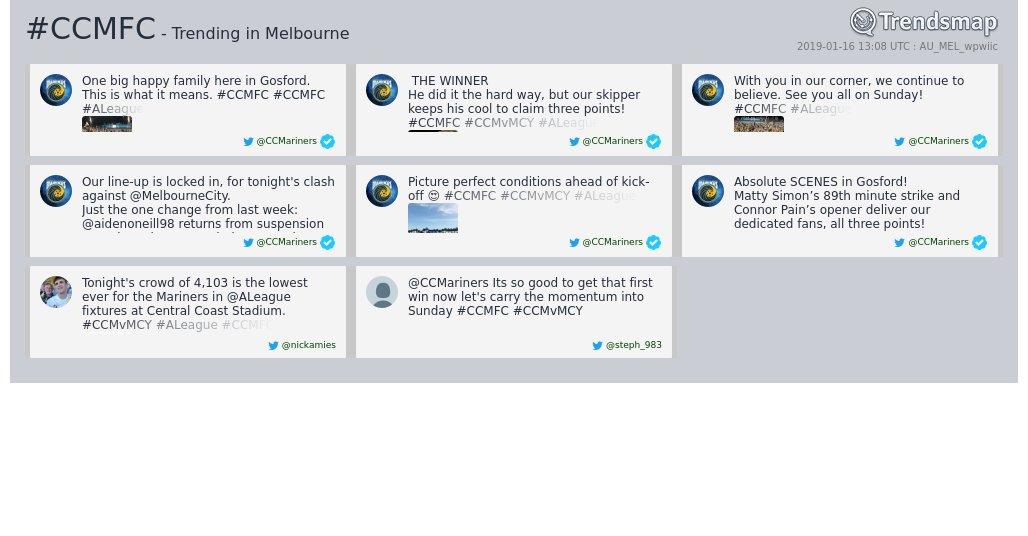 Trendsmap Melbourne's photo on #CCMFC