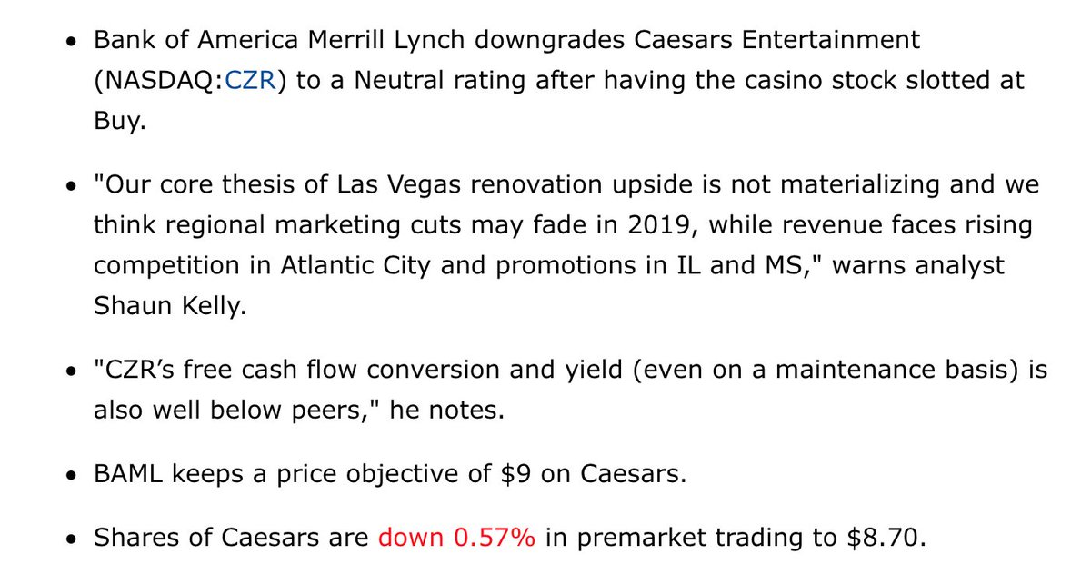 """Something to ponder about #CZR via @SeekingAlpha especially bullet-point #2 """"Our core thesis of Las Vegas renovation upside is not materializing and we think regional marketing cuts may fade in 2019, while revenue faces rising competition in Atlantic City and promotions in IL..."""""""