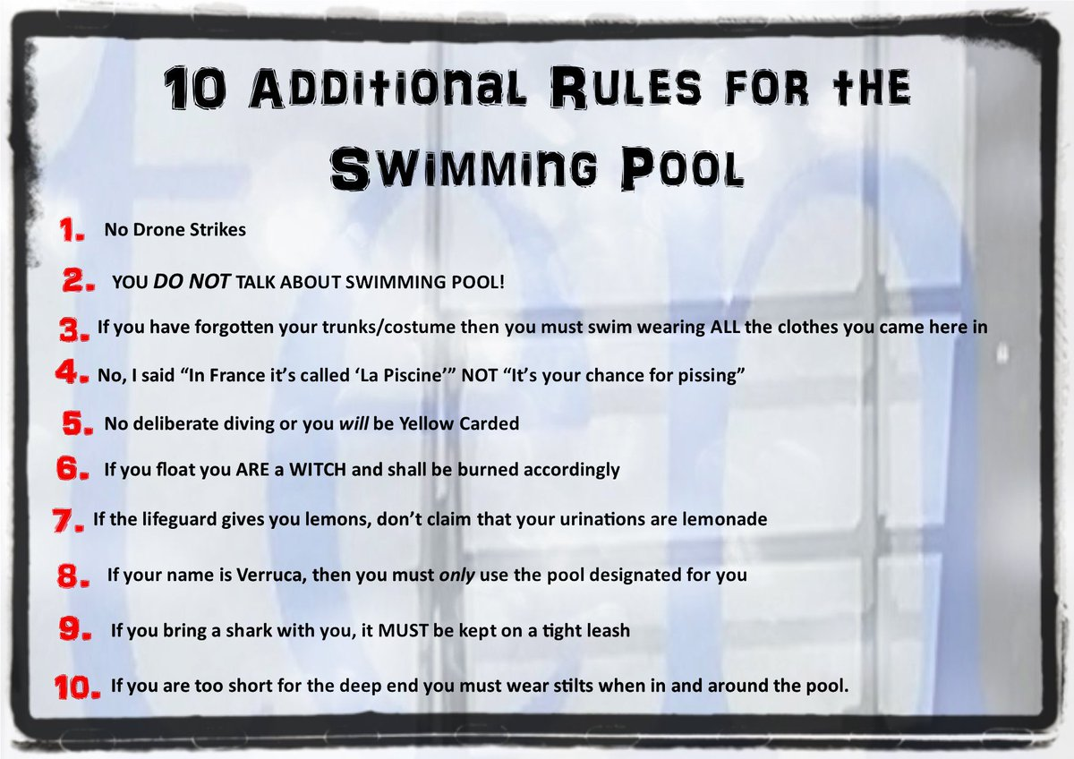 25bab88ef8 10 Additional Rules for the Swimming Pool #swim #PoolRules #Swimming  #wetwetwetpic.twitter.com/jzD13uDZsj