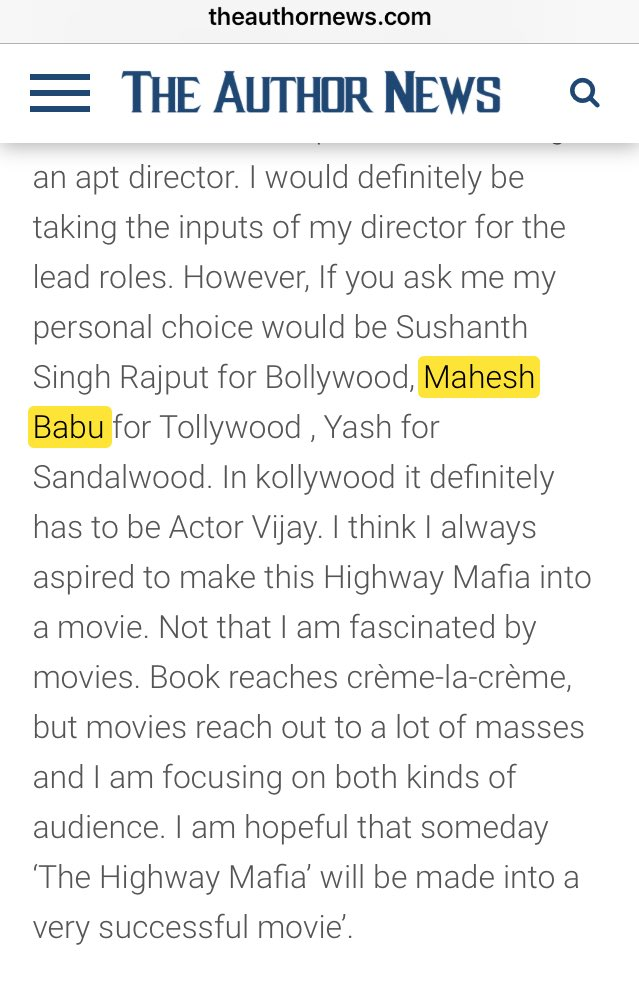 Author of The Highway Mafia, Suchitra Rao wishes Superstar Mahesh @urstrulyMahesh to play the male lead (in Tollywood) if her book is made into a movie. @Suchitrasrao    http:// theauthornews.com/authors/interv iew/corruption-has-its-roots-in-every-industry-for-this-reason-it-becomes-a-place-breeding-ground-of-lot-of-crimes-says-suchitra-rao/ &nbsp; … <br>http://pic.twitter.com/EqoZuzDnvR
