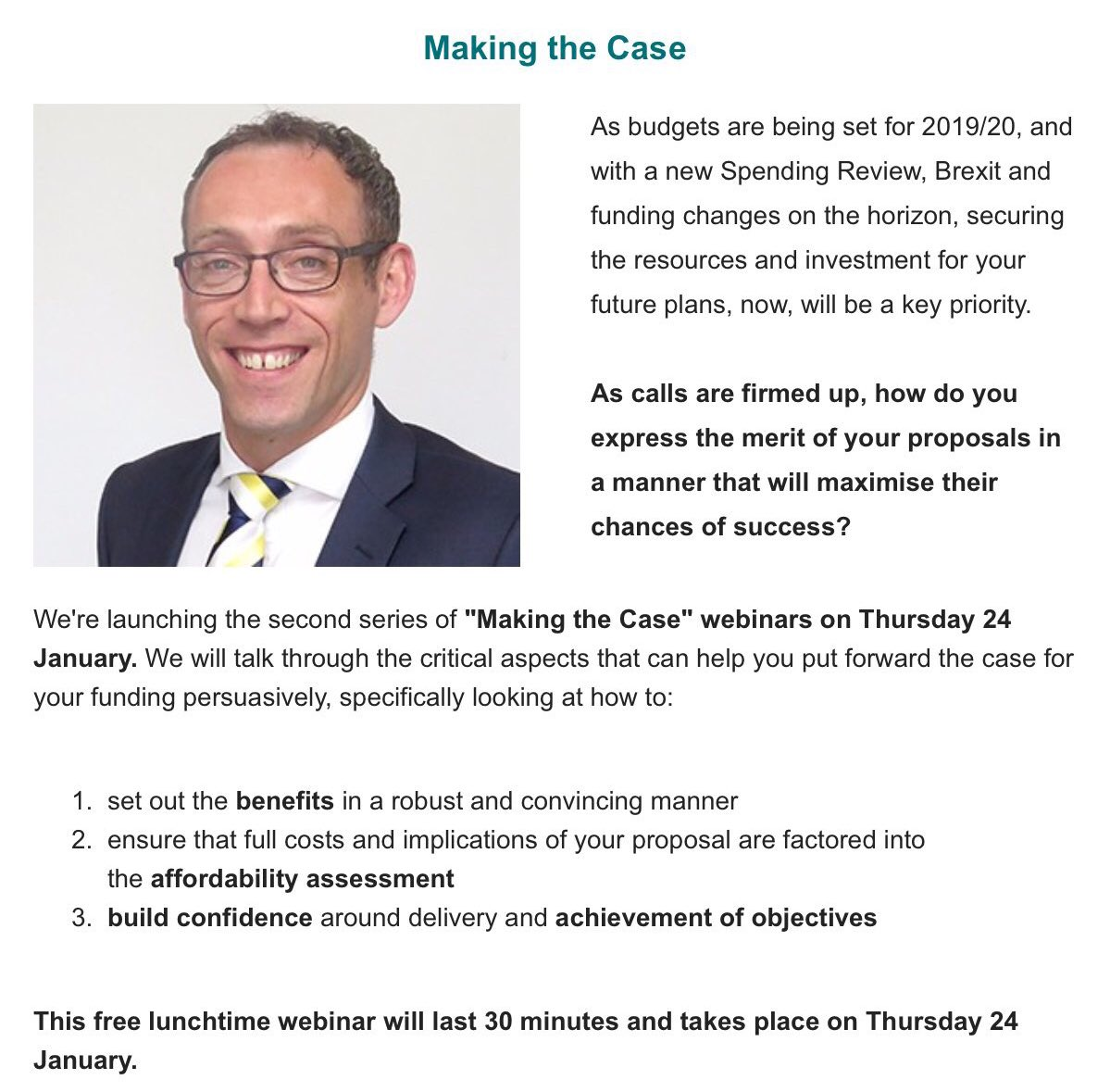 Making the Case 💼 - as calls for funding are firmed up, how do you express your proposals in a manner which which maximise their chances of success?   We're running a free webinar on Thursday 24 January, 1 - 1.30pm. Email Josie.brewer@local.gov.uk to secure your place!