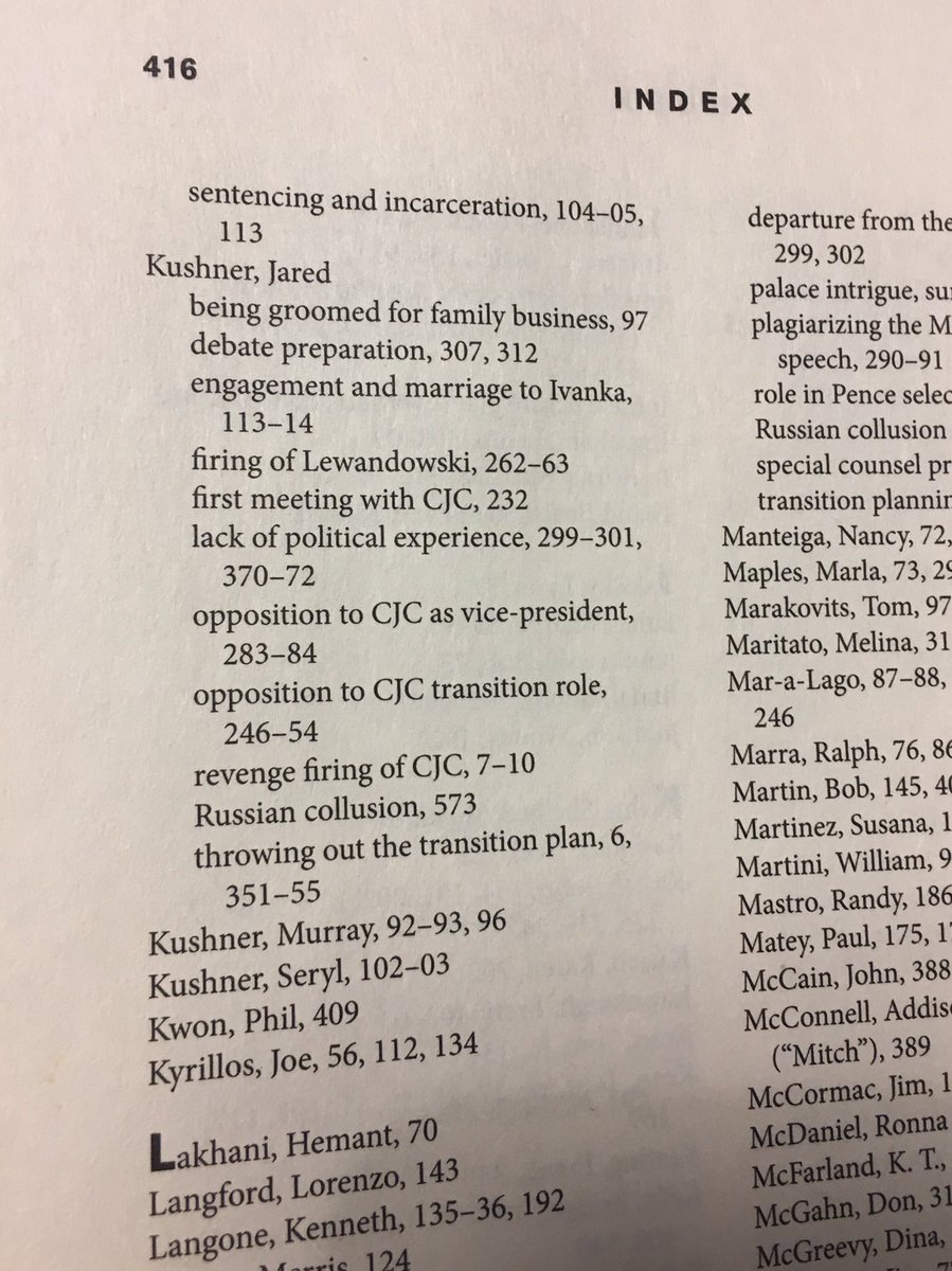 """Index of Chris Christie's 410-page book points to """"Jared Kushner – Russian collusion"""" material on page 573, which is a solid prank"""