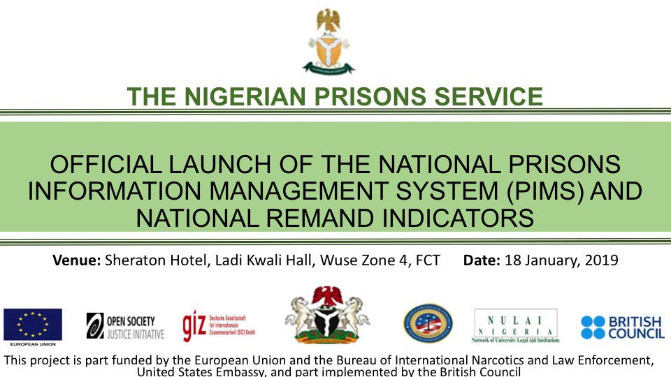 Exciting news: The Nigerian Prisons Service in collaboration with the Presidency is launching Nigeria's National Prisons Information Management System (PIMS). Official launch is on Friday January 16, 2019. First-of-its-kind-in-Nigeria prisons information database, linked to NIMC. <br>http://pic.twitter.com/PRQTxIp955
