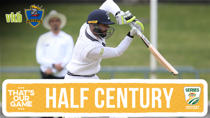 Rudi Second brings up his half century (52)* to take the VKB Knights to 172/6. Shadley van Schalkwyk (35)* batting along side him. We trail by178 with 4 wickets remaining against Hollywoodbets @DolphinsCricket #4DaySeries #DOLvKNI Photo