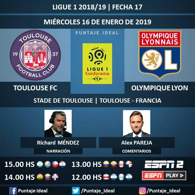 ⚽ #Ligue1xESPN   #ToulouseFC vs. #OlympiqueLyon 🎙 Narración: @RichardGol_espn  🎙 Comentarios: @Alexparella  📺 #ESPN 2 Centroamérica y Rep. Dominicana 🖥 @ESPNPLAY Latinoamérica 🤳 #ESPNesHD - #Ligue1 🇫🇷 - #TFCOL  Dale RT 🔃