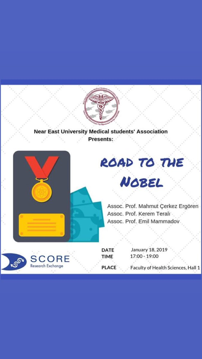 #SCORE  THE ROAD TO NOBEL🎖 is a symposium prepared to equip medical students with the building blocks required on the path to research and what it takes to become a sucessful researcher, while focusing on the future of opportunities that research holds.
