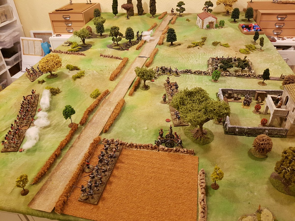 As a reluctant Sgt Perrins marches his men away to the left Captain Lee  sees more French infantry form line to his right and Poivrade&#39;s cannon rumble into position ahead. &quot;Stand fast and let them have it men, they won&#39;t hold for long&quot;. #SP2 #Sharppractice #spreadthelard<br>http://pic.twitter.com/b7NHetIbgu