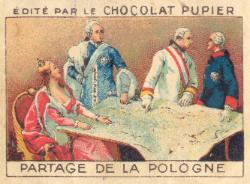 """#Maps Now this is something to behold. The partitions of #Poland (1772, 1793, 1795) being used to sell chocolate, by French company Chocolate Pupier (founded in 1860s, still around today). Made sometime in early 1920s. Compare it with the original """"allegory"""" by Le Mire in 1772."""