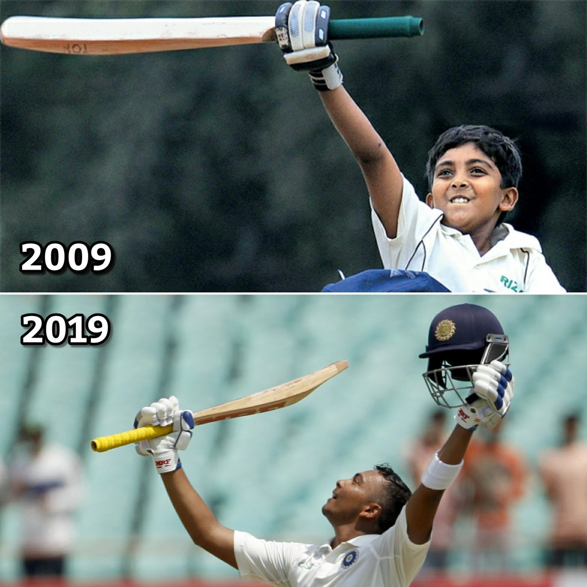 .@PrithviShaw&#39;s #10YearChallenge is the only motivation you need.  #ThisIsNewDelhi #DelhiCapitals  Picture courtesy: Mumbai Mirror, NewsClick<br>http://pic.twitter.com/fJ7T0AcZqo