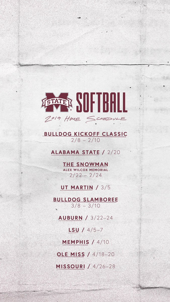 Mississippi State Softball على تويتر Keep Our Home Schedule