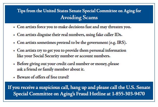 RT @RJPIII: 8/ Tips from the United States Senate Special Committee on Aging for Avoiding Scams https://t.co/R2mrmNibAp