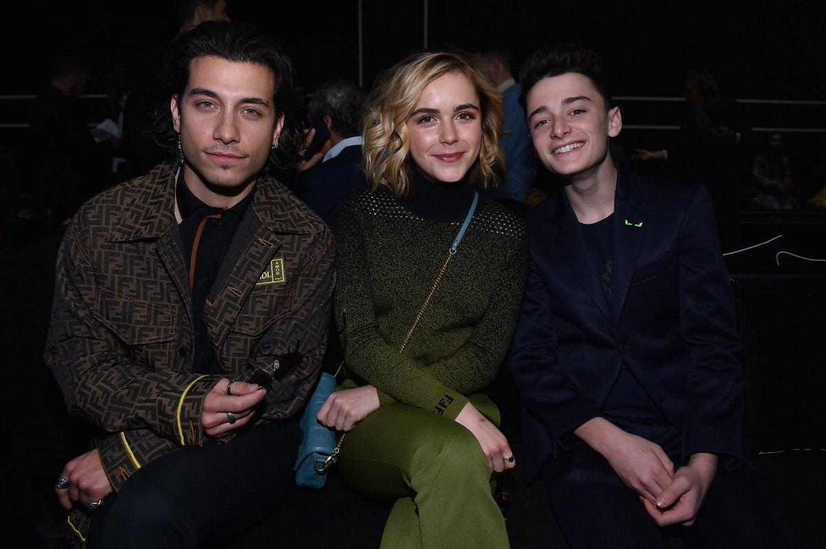 .@robraco, @kiernanshipka and @noah_schnapp at the Fendi Men's Fall/Winter 2019-20 Fashion Show.  #FendiFW19