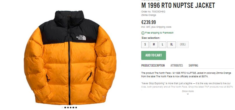 The North Face Nuptse Jacket T92ZWEWWR | BSTN Store