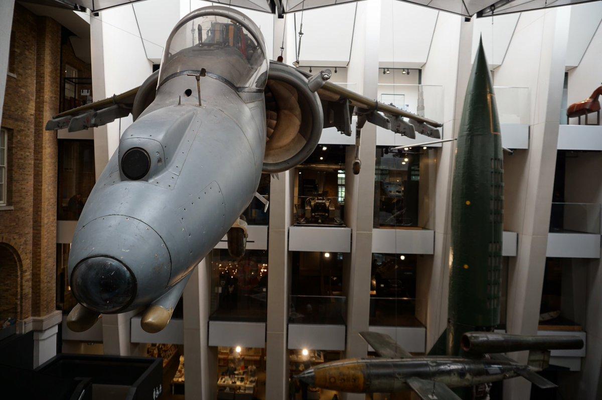 A Harrier dodging a V-2 rocket at the Imperial War Museum. 📷 @cpdcrsdr 2018   #Harrier #V2 #RAF #aviation #harrierjumpjet #royalairforce #RAF100