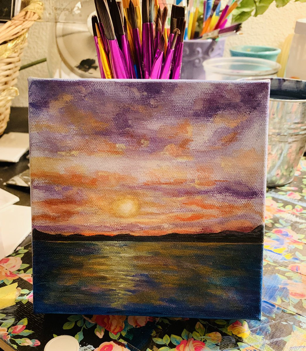 Queen Gardner On Twitter 6x6 Ocean Sunset Painting Queenshyart Queenofart Ocean Sunset Acrylic Art Artists Artwork Queen Painting Ocean Sunset Purple Pink Sea Sky Clouds Homedecor Gallery Arte Drawings Sketchbook