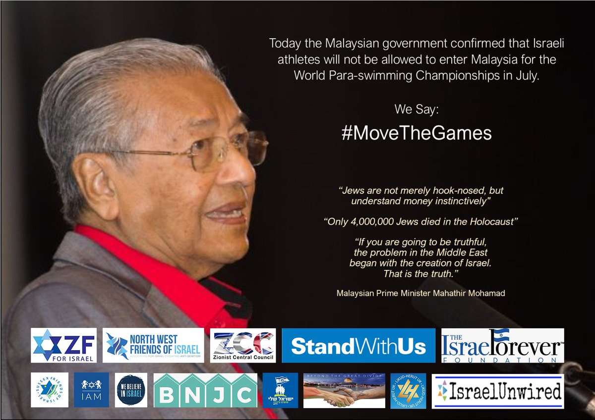 We are joining with a whole range of organisations calling for the upcoming qualifier for the 2020 Paralympic Games to be moved to a more suitable country, unless Malaysia relents on its plans to bar Israeli athletes from competing.   Sign our petition:  https://www. webelieveinisrael.org.uk/malaysian_ban_ on_israeli_swimmers &nbsp; … <br>http://pic.twitter.com/4GYG8wYWl3