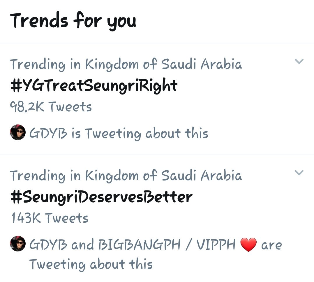 .Here in KSA !!BIGBANG will not name us VIP&#39;s for nothing ,  #YGTreatSeungriRight  #SeungriDeservesBetter<br>http://pic.twitter.com/DD1kGpTZpP