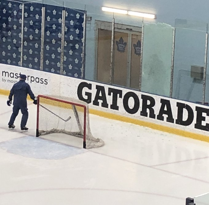 John Tavares does some pre-practice shooting on Frederik Andersen, breaks a pane of glass. Happy Hump Day! Photo