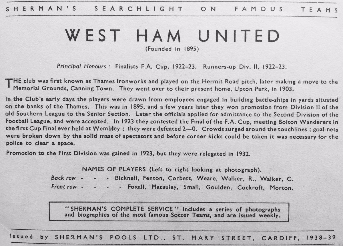 RT @MemorabiliaMal: #WHUFC #COYI  Sherman's Pools card issued 1938/9 https://t.co/8jZoeim2XU