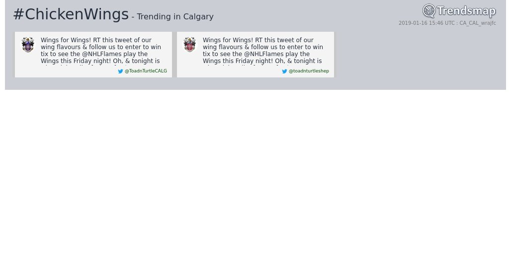 #chickenwings is now trending in #Calgary  https://www.trendsmap.com/r/CA_CAL_wrajfc