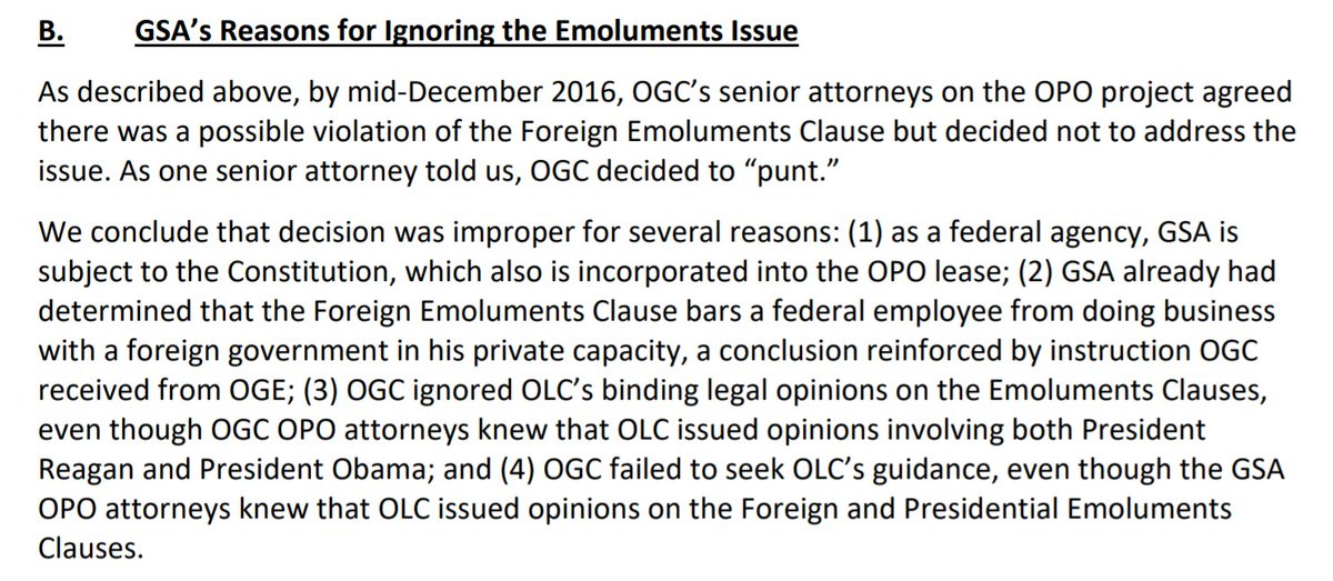 """IG: By mid-December 2016, senior GSA attorneys """"agreed that there was a possible violation of the Foreign Emoluments Clause but decided not to address the issue"""" posed by the president's ownership of his DC hotel.   """"We conclude that decision was improper for several reasons."""""""