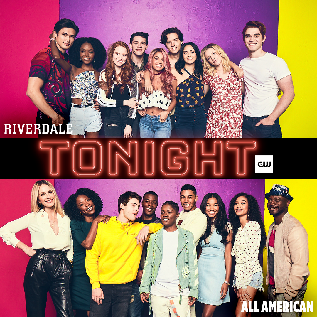 RT @CW_Riverdale: Grab your crew. #Riverdale and @CWAllAmerican are back TONIGHT starting at 8/7c on The CW! https://t.co/eXIUDT9zo8
